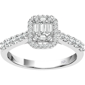 14K White Gold 3/4 CTW Diamond Bridal Set with Baguette Diamonds, Size 7