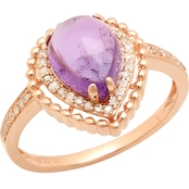 10K Rose Gold Amethyst Diamond Accent Ring