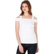 Michael Kors Petite Grid Text Banded Tank