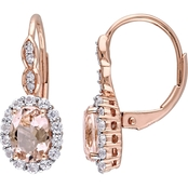 Sofia B. 14K Rose Gold Morganite, Topaz and Diamond Accent Earrings