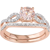 Sofia B. 10K Rose Gold 1/6 CTW Diamond & Morganite Infinity Bridal Set