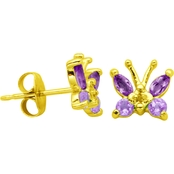 Gold Over Sterling Silver Genuine Amethyst Diamond Accent Butterfly Stud Earrings