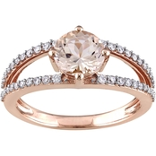 Sofia B. 14K Rose Gold Morganite and 1/3 CTW Diamond Double Row Ring