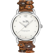 Coach Women's Delancey Watch in Silvertone with Floral Detail Strap 36mm 14502746