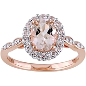 Sofia B. 14K Rose Gold Morganite, Topaz and Diamond Accent Vintage Ring