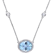 Sofia B. 14K White Gold 1/6 CTW Diamond, Blue Topaz and White Sapphire Necklace