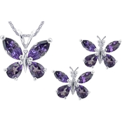 Sterling Silver Amethyst and White Topaz Pendant and Earrings Set