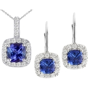 Sterling Silver Tanzanite and White Topaz Pendant and Earrings Set