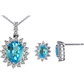 Sterling Silver Swiss Blue and White Topaz Pendant and Earrings Set