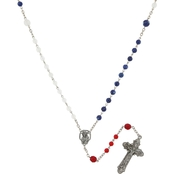 Symbols of Faith Silvertone Americana Rosary Necklace