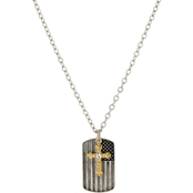 Symbols of Faith Silvertone Flag Dog Tag Goldtone Cross Charm 24 in. Necklace