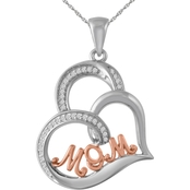 Sterling Silver with 14K Rose Gold Plated 1/10 CTW Diamond MOM Pendant, 18 in.