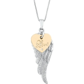 Gold Over Sterling Silver Diamond Accent Angel Wing Pendant