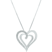 Sterling Silver 1/8 CTW Diamond Heart Pendant