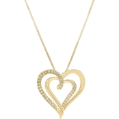 Yellow Gold Over Sterling Silver 1/8 CTW Diamond Heart Pendant