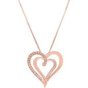 Rose Gold Over Sterling Silver 1/8 CTW Diamond Heart Pendant