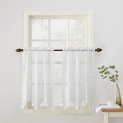 Alison Sheer Lace Elongated Kitchen Curtain Tier Pair, 58 x 36