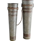 Simply Perfect Rustic Zinc Vase 2 Pc. Set