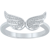 Sterling Silver 1/10 CTW Diamond Angel Wing Ring