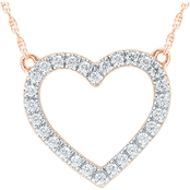 10K Rose Gold 1/7 CTW Diamond Heart 16 in. Necklace