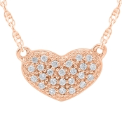 10K Rose Gold Diamond Accent Pave Heart 16 in. Necklace