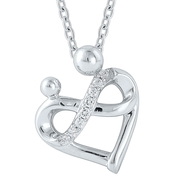 Sterling Silver Diamond Accent Mom and Baby Heart Pendant