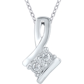 Sterling Silver Diamond Accent Two Stone Pendant