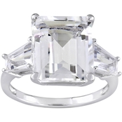 Sterling Silver White Topaz Three Stone Ring