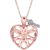 Sofia B. Rose Plated Sterling Silver White Topaz Heart Locket Necklace, 18 in.