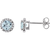 Sofia B. Aquamarine and Diamond Accent Halo Stud Earrings in 10K White Gold