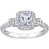 Sofia B. Aquamarine and 1/6 CTW Diamond Halo Ring in 10K White Gold