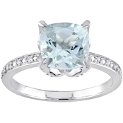 Sofia B. Aquamarine and Diamond Accent Ring in 10K White Gold