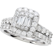 14K White Gold 1 1/2 CTW Bridal Set, Size 7