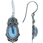Robert Manse Designs Elongated Blue Mabe Pearl Earrings London Blue Topaz Accents