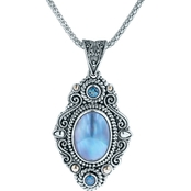 Robert Manse Designs Elongated Blue Mabe Pearl Pendant Blue Topaz Accents, 18 in.