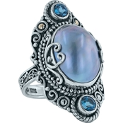 Robert Manse Designs Elongated Blue Mabe Pearl Ring with London Blue Topaz Accents