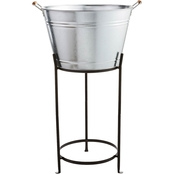 Martha Stewart Collection Galvanized Beverage Tub with Stand