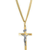 14K Yellow Gold Filled Solid Two Tone Crucifix Cross Pendant