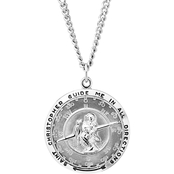 Sterling Silver Solid Compass Saint Christopher Medal with 24 in. Stainless Chain