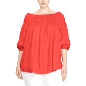 Lauren Ralph Lauren Plus Size Quarida Smocked Off-the-Shoulder Top
