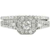 14K White Gold 1 CTW Diamond Engagement Ring Set