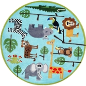 Momeni Lil Mo Whimsy Safari 5 Ft. Round Rug