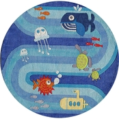 Momeni Lil Mo Whimsy Ocean Life 5 Ft. Round Rug