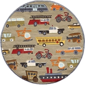 Momeni Lil Mo Whimsy Transportation 5 Ft. Round Rug