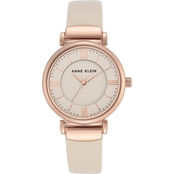 Anne Klein Women's Crystal Accented Rose Goldtone &Leather Strap Watch AK/2666RGIV