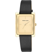 Anne Klein Women's Goldtone and Black Leather Strap Watch 28mm AK/2706CHBK