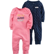 Carter's Infant Girls 2 Pc. Babysoft Neon Coveralls Set