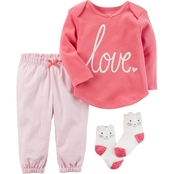 Carter's Infant Girls 3 Pc. Babysoft Tee and Pants Set