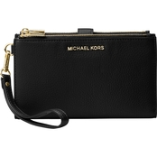 Michael Kors Women's Adele Double Zip Wristlet 7 Black