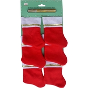ICE Design Factory 6 Pc Red Mini Christmas Stockings with Glitter Pen